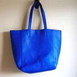Blue Faux leather tote